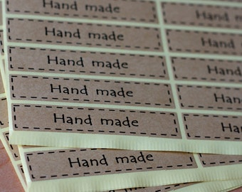 Hand Made Label Stickers - 1.5cm X 7cm Rectangle Seal Sticker - 60 seals