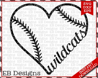 Wildcats Baseball Love SVG DXF EPS Cutting Machine Files Silhouette Cameo Cricut Cardinals Vinyl Cut File Softball Vector svg file