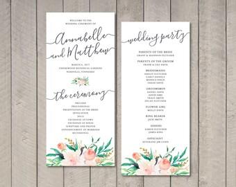 Blush Floral Wedding Program (Printable) by Vintage Sweet