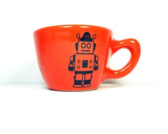 12oz cup with a robot print, shown here on clementine glaze - Made to Order/ Pick Your Colour/Add a Lid