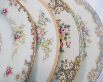 Vintage Mismatched China Dinner Plates, Wedding China, Wedding Plates, Garden Party, China Plates, Shabby, Rustic, Chic- Set of 4