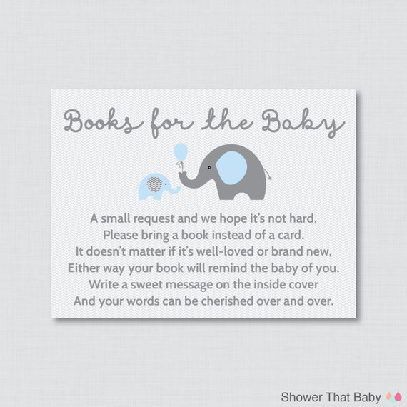 Elephant Baby Shower Bring A Book Instead Of A Card Invitation