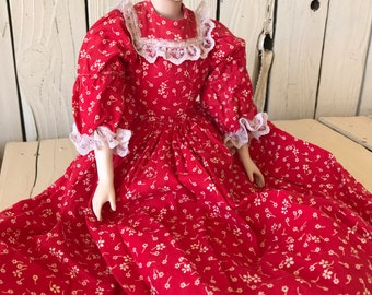 """Vintage Doll Dress Slip Bloomers Red Floral Print 18"""" Doll Clothing by picadillymarket"""
