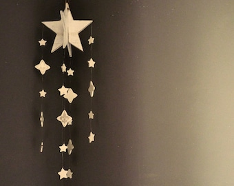 Modern star design mobile No.1, with French fleur de lis,LARGE, handmade. LIMITED EDITION