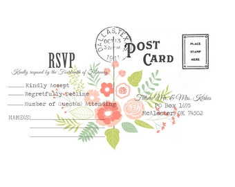 Wedding Invitations and RSVP Postcards
