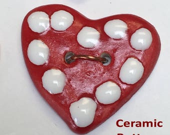 4 Set of Four Ceramic Buttons, Heart Shaped, Almost 1 inch Wide, Red & White for Valentine