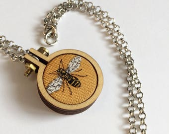 Bee pendant, bee jewellery, handmade jewellery, mini hoop jewellery, statement jewellery, statement necklace, bee necklace