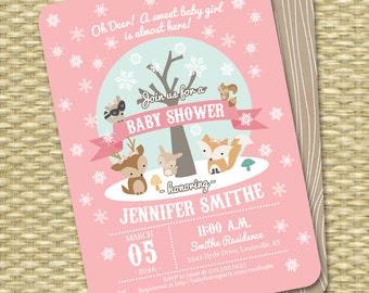 Winter Woodland Baby Shower Invitation Winter Baby Shower Woodland Animals Little Deer Baby Shower Invite Baby Boy Baby Boy Gender Neutral