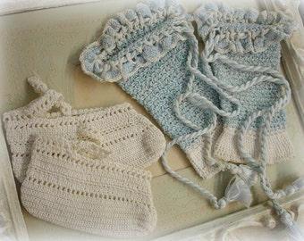 oh baby vintage crocheted baby booties and leg warmers soft baby blue and white cotton crochet