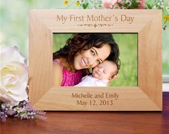 Personalized My First Mothers Day Wood Picture Frame, gift for mom, gift for new mom, wood frame, photo frame, mom picture frame -gfy934241