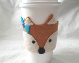 Fox Handsewn Felt Applique Coffee Cozy