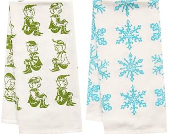 SALE holiday organic tea towel set