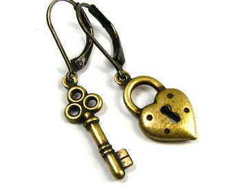 "Heart Shaped Lock and Skeleton Key Earrings ""Key to my Heart"" in Antiqued Brass by Nouveau Motley"