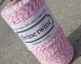 FULL SPOOL - Bakers Twine - Divine Twine - 100% Cotton - One Color - Your Choice - New Coral Shown - 240 Yards