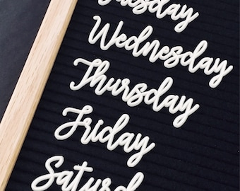 Cursive Days of the Week and Months of the Year Letter Set - White