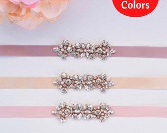 Rose Gold Bridesmaids Belt-Rose Gold Flower Girl Sash-Rhinestone Belt- thin bridal sash-Bridal Belt Bridesmaids sash- B093