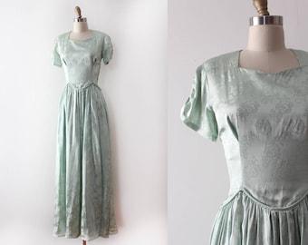 vintage 1940s gown // 40s sea foam green floral dress