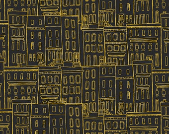 Black and Gold City Fabric - Gramercy by Leah Duncan for Art Gallery - Brownstone Coated - Fabric By the Half Yard