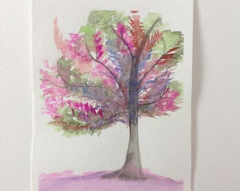 Pink Tree watercolour painting