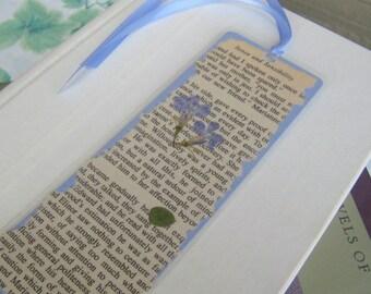 Light Blue Pressed Flower Jane Austen Book Page Laminated Bookmark