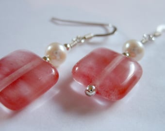 Cherry quartz, freshwater pearl and sterling silver earrings