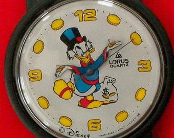 Disney LORUS McScrooge Watch! New! Retired! HTF! Coins are Number Markers! Points To Time!