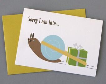 Snail with Birthday Gift (Happy Belated Birthday) 4-Bar Folded Card