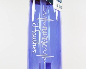 Personalized .75L CamelBak® Eddy Bottle - Nurse Heartbeat - Water Bottle - Custom - Bottle - Hydrate - Bite Valve - Hospital - Nurse