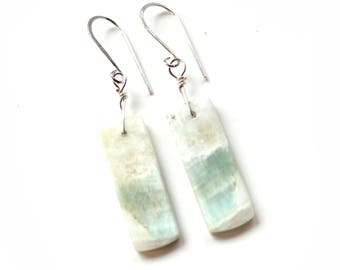 Amazonite Earrings, Silver Earrings, Gemstone Earrings, Gift Boxed Earrings, Gift for Her, GIft for Wife, Girlfriend Gift, 1E