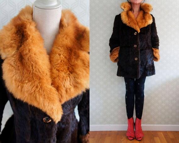 Coat Coat fur 70s Goat and Boho Fur style Vintage and collar abundant lapels Great Fur soft EqRqTAvw
