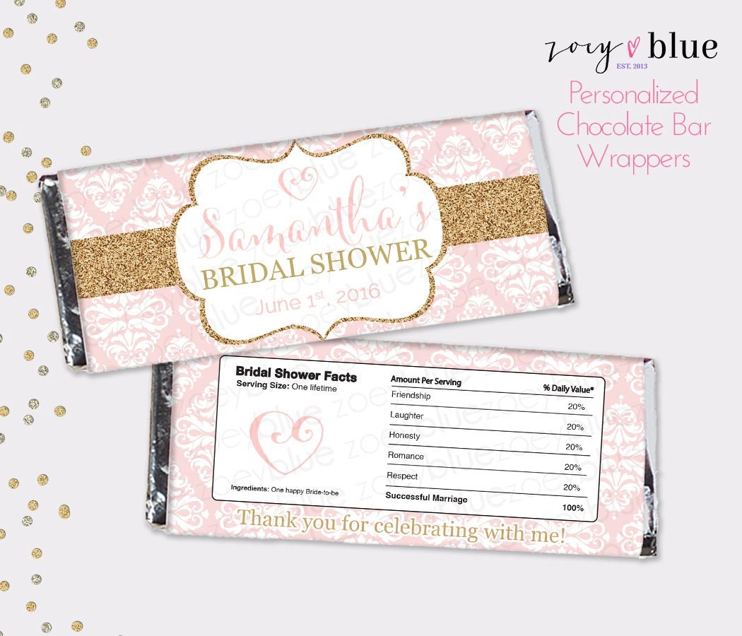 Blush Pink Gold Bridal Shower Chocolate Bar Wrapper - Engagement ...