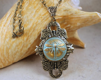 Dragonfly Pendant, Dragonfly Necklace, Dragonfly Jewelry, Czech Button Pendant, Czech Button Necklace, Aqua Dragonfly Necklace
