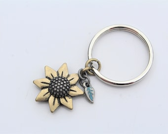 Sunflower Keychain With Blue Feather // The Earthy Soul // Hippie Keychain // Gifts for Her // Boho // Cute// Stocking Stuffer for Women