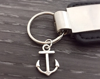Tiny Anchor Keychain, men's gift, custom best friend gift, couples jewelry, silver anchor keychain, nautical keychain, meaningful keychain