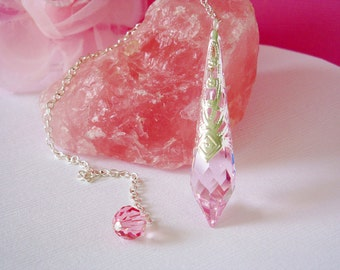 Pink Crystal Pendulum Single Point Crystal Metaphysical Magic Wand