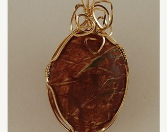 SALE. Red Creek Jasper pendant necklace rusty red color 14k Gold FIlled wire