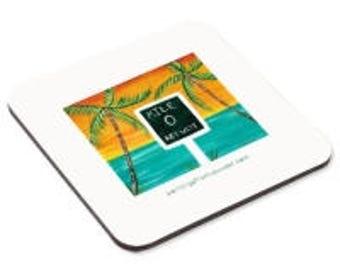 Mile Zero Key West Original painting Print on  Cork Coasters
