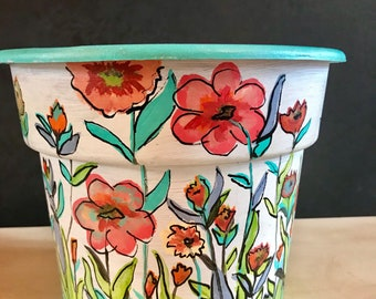 Wildflowers Hand Painted Pot