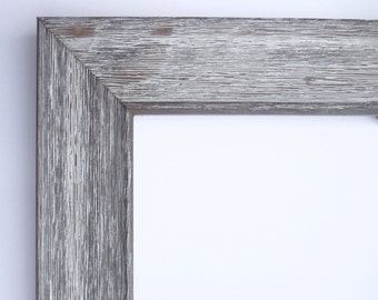 """Custom Frame for Any Size Artwork, Rustic Wood, White Wash, 1 5/8"""" Wide"""
