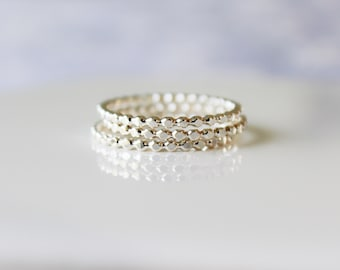 Sterling Silver Rings, Silver Stacking Bead Ring, Stacking Ring, Jewelry, Connected Dot ring, Etsy Gifts , Boho Ring, Dainty Ring