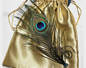 Peacock wedding dance bag.  Bridal Gold and Teal drawstring bag.  Peacock wedding accessories.