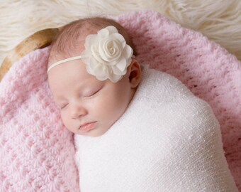 Ivory headband, christening headband, QUICK SHIP, baptism headband, newborn headband, infant headband, rose headband, ivory hairband