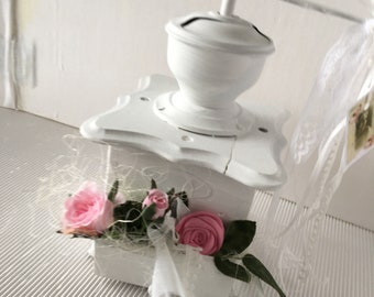 Antique Shabby Coffee mill decorated