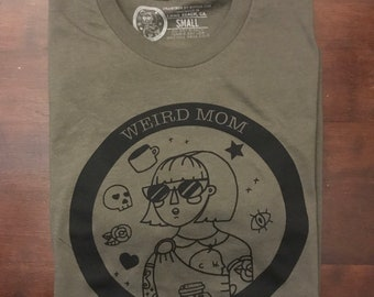 Weird Mom Club circle logo shirt, black ink on olive unisex soft spun shirt.