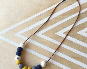 Polymer clay bead necklace. Mustard, navy, grey, white! 'The nicole'