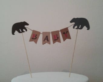 Buffalo Plaid Baby Shower-Bear Rustic Baby Shower-Black Bear Baby Shower