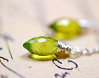 Delicate Peridot Earrings, August Birthstone Jewelry, Sterling Silver Chain Genuine Gemstones, Green Birth Stone Dangles