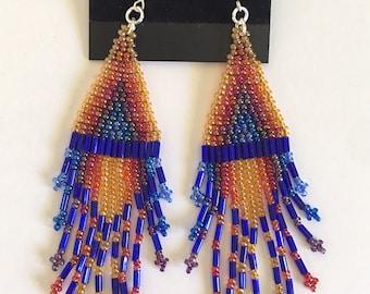 Sunset Spectrum Triangle (Isosceles) Chandelier Translucent Fringe Dangle Earrings (Clip-on Convertible)