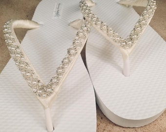 Emma Bridal Flip Flops, Custom Flip Flops Dancing Shoes, Beaded Bridal Sandals, Wedding Flip Flops, Beach Wedding Bridal Shoes