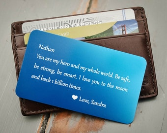 Engraved Wallet Card, Custom Wallet Insert: Valentine's, Anniversary, Wedding Vows, Groom's Gift, Father's Day, Wedding Coordinates